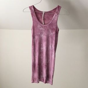 ANTHROPOLOGIE Rose Pink Floral Fitted Tank Top